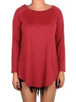 Relaxing Wine Red Shirt Solid Color Crew Neck Plus Size Leisure