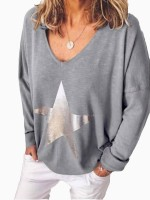 Desirable Light Gray Knit V-Collar Long Sleeve T-Shirt Fast Shipping