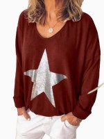 Homely Wine Red Full Sleeve Five-Pointed Print Shirt Outdoor