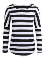 Extraordinary Black Stripe Shirt Long Sleeve Curved Hem Slim