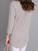 Tailored Light Gray Curved Hem Cross Front Blouse Deep-V Casual Clothing