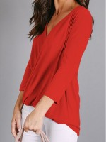 Awesome Red Deep-V Cross Front 3/4 Sleeves Shirt For Every Occasion