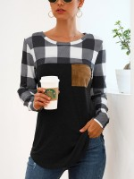 Cutie Long Sleeve Grid Patchwork Shirt Women's Essentials