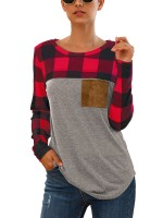 Individualistic Crew Neck Long Sleeve Shirt Pocket Stretchy