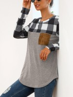 Simply Chic Full Sleeve Shirt Plaid Patchwork All-Match Fashion