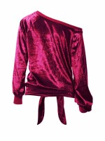 Dainty Wine Red Shirt Solid Color Long Sleeve Knotted Lady Fashion