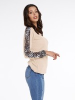 Relaxing Apricot V Collar Full Sleeve Shirt Patchwork Female Grace