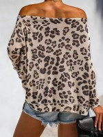 Modern Off Shoulder Leopard Pattern Shirt For Streetshots