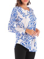 Favorite Blue Shirt High-Low Hem Full Sleeve Female Elegance