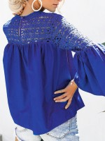 Glam Blue Shirt 3/4 Sleeve Round Collar Ruched Superior Quality