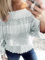 Tantalizing Off Shoulder Shirt Jacquard Weave Women Outfit