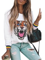 Glaring Animal Printing Shirt Long-Sleeved Women's Clothing