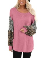 Super Sexy Pink Crew Neck Curved Hem Patchwork Blouse For Beauty