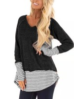 Dazzles Black Stripe Patchwork Shirt Long Sleeves All Over Smooth
