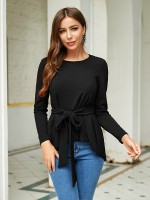 Extraordinary Black Full Sleeves Top Dovetail Hem Tie Ladies