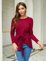 Splendor Wine Red Round Neck Blouse Knot Solid Color Casual
