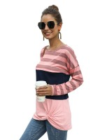 Passionate Pink Shirt Round Collar Stripe Print Simplicity
