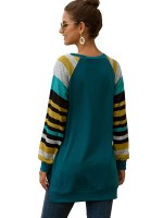 Outstanding Blue High-Low Hem Long Sleeve Shirt Leisure Time
