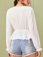 Scintillating White Shirt Solid Color Fitted Waist Women Clothes