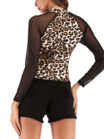 Lovable Khaki Mesh Patchwork Leopard Printed Shirt Best Materials