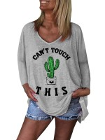 Natural Gray Shirt Irregular Hem Cactus Letter Print Relax Fit