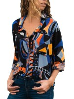 Super Blue Button Front Shirt Abstract Pattern Sexy Ladies