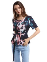 Luscious Curvy Black Short Sleeve Shirt Flower Printed