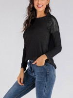 Fancinating Black Sequins Shirt Full Sleeve Round Collar Women Outfits