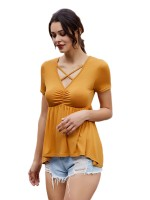 Seaside Yellow Lace-Up V Neck T-Shirt Short Sleeves Soft-Touch