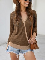 Appealing Coffee Color Patchwork Shirt Waffle Print V Neck Feminine Grace