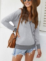 Delightful Light Gray Patchwork Cross V-Neck Shirt Women's Tops