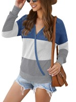 Eye-Appealing Blouse Long Sleeve Contrast Color Regular Fit