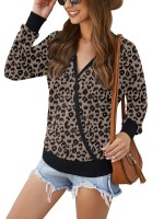 Endearing V Collar Leopard Paint Shirt Women Fashion Style