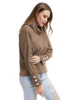 Outstanding Khaki Shirt Knitted High Neck Buttons Cuff Sensual Curves