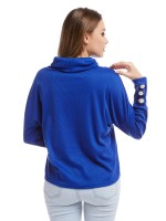 Distinct Blue Drop Shoulder Blouse Knit Cowl Neck Delightful Garment