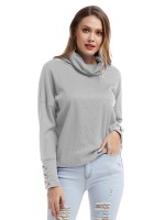 Natural Light Gray Stacked Collar Cuff Button Knit Shirt Women's Fashion