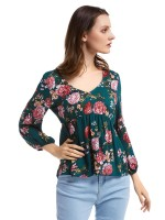 Dramatic Army Green Flower Print Elastic Cuff Shirt V-Neck Capture Elegance