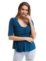 Sophisticated Blue Large Size Shirt Short Sleeves Pleated