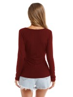 Exclusive Wine Red Solid Color Wrap Top Deep V Collar Women