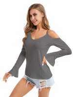 Trendy Gray Plus Size Shirt Sling Long-Sleeved Charming Fashion