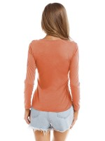 Noticeable Orange Solid Color Lace-Up Top Round Neck Free Time