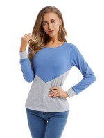 Dishy Blue Large Size Top Full Sleeve Patchwork Casual Clothes