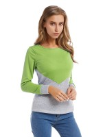 Vivifying Light Green Contrast Color Blouse Queen Size For Stunner