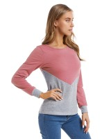Well-Suited Pink Long Sleeve Patchwork Top Plus Size Glamor