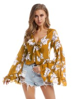 National Style Yellow Shirt Ruffled V Neck Long-Sleeved