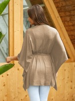 Seaside Khaki Cape Sleeve Irregular Hem Shirt Comfort Fit