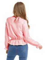 Tailored Pink Poet Sleeve Shirt Plain Long Sleeves Casual