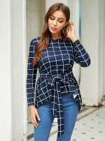 Elegant Blue Tie Waist Blouse Plaid Round Neck Delightful Garment