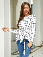Seaside White Round Neck Tie Shirt High-Low Hem For Ladies