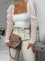 Lovely White Puff Sleeve Shirt Open Back Casual Clothes